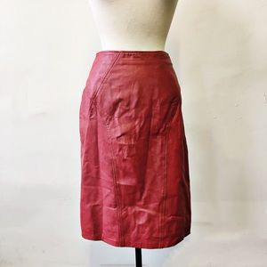 Vintage Renaissance 80's Red Leather Pencil Skirt